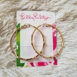 Lilly Pulitzer gold bamboo hoop earrings